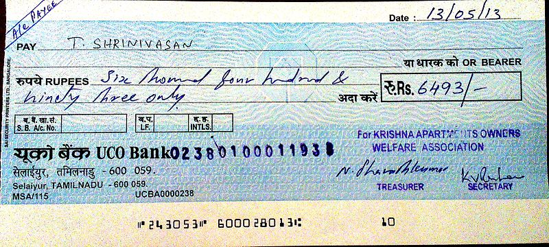 sample cheque