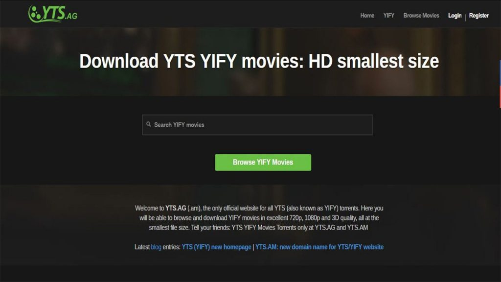 YTS Best movie downloading website